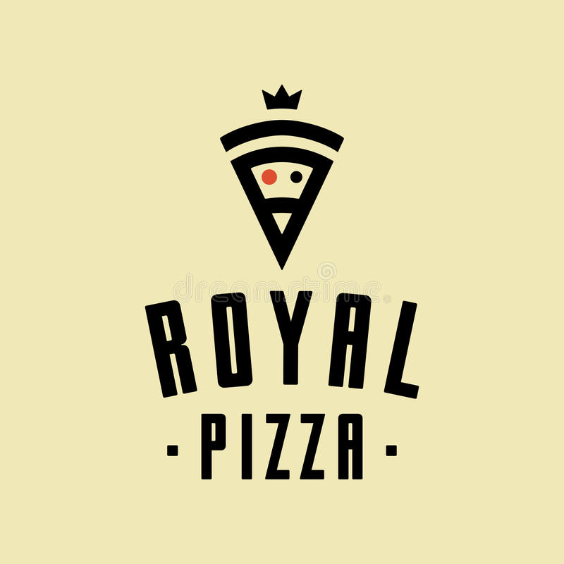 Royal pizza vector minimalism style logo, icon, emblem, sign. Graphic design element with a slice of pizza royalty free illustration