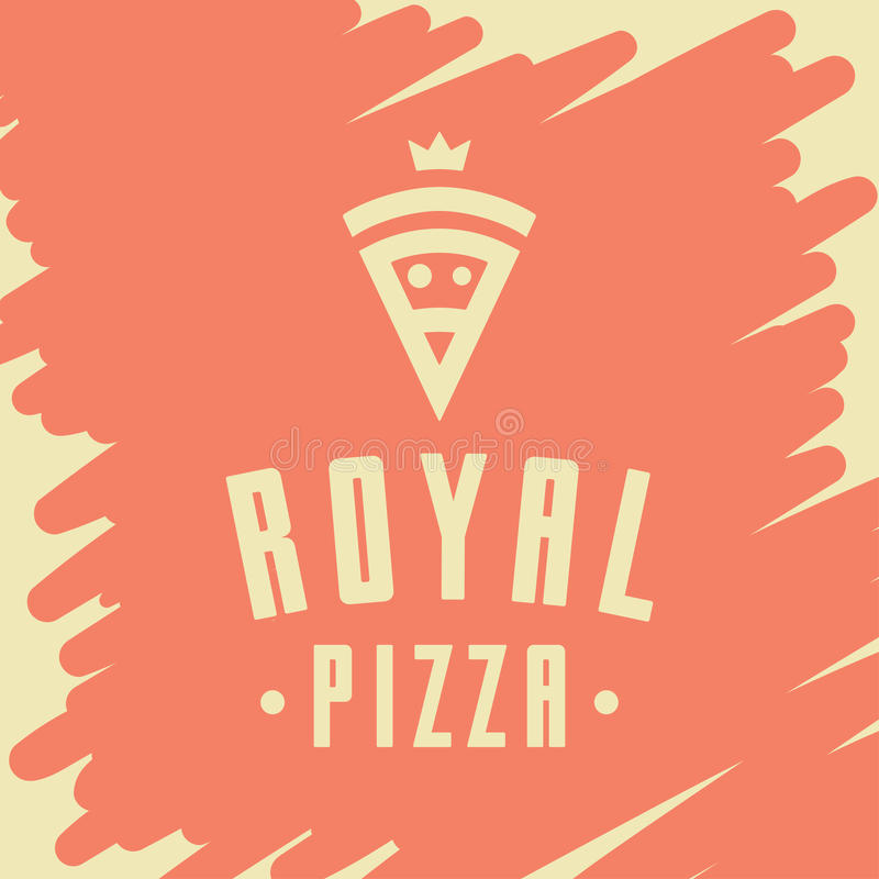 Royal pizza vector style logo, icon, emblem, sign. Graphic design element with a slice of pizza stock illustration