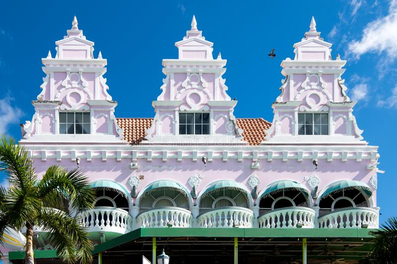 Aruba, The Royal Plaza, Oranjestad. Royal Plaza Mall with Restaurants, bars and shops, Aruba, island in the Caribbean Sea, Lesser Antilles, constituent country royalty free stock photo