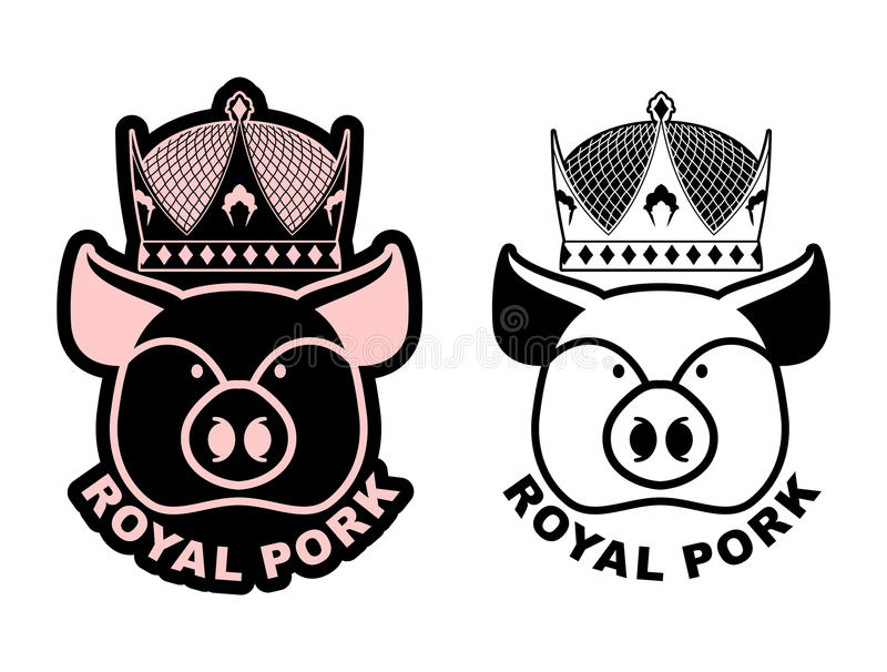 Royal pork emblem. Pig in crown. Logo for farming and meat production. Excellent quality and taste of food. Delicacy for emperor. Royal bacon royalty free illustration