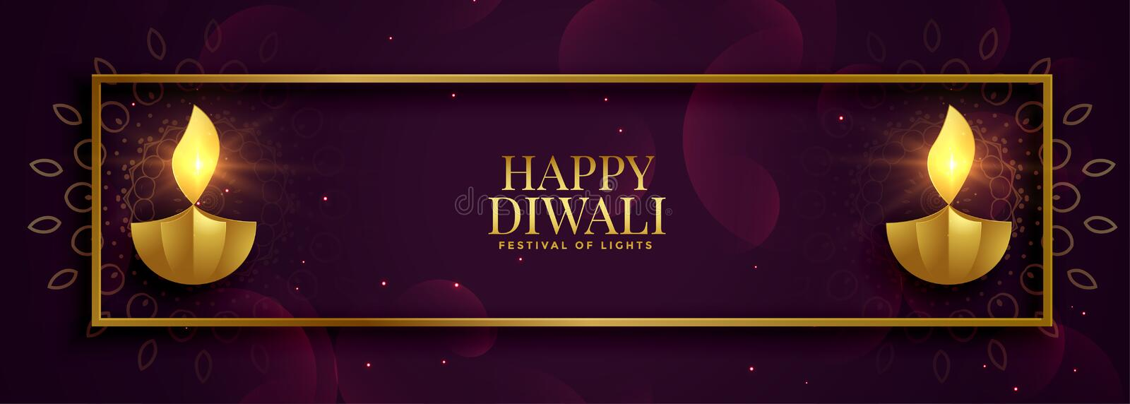 Royal premium style happy diwali shiny golden banner vector illustration