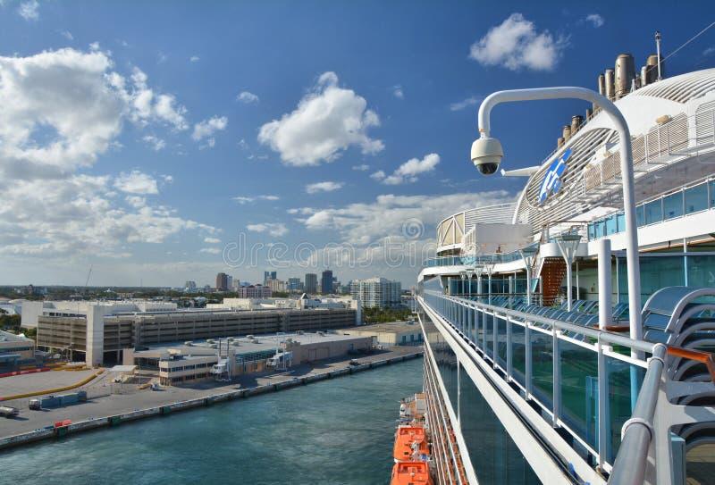 Royal Princess ship sails away from Fort Lauderdale royalty free stock photo