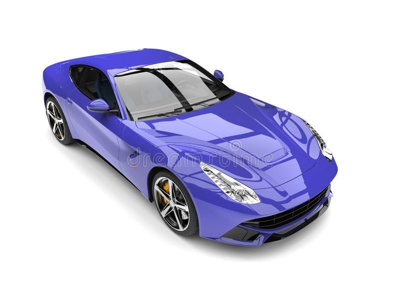 Royal purple modern fast sports concept car - top down shot stock illustration