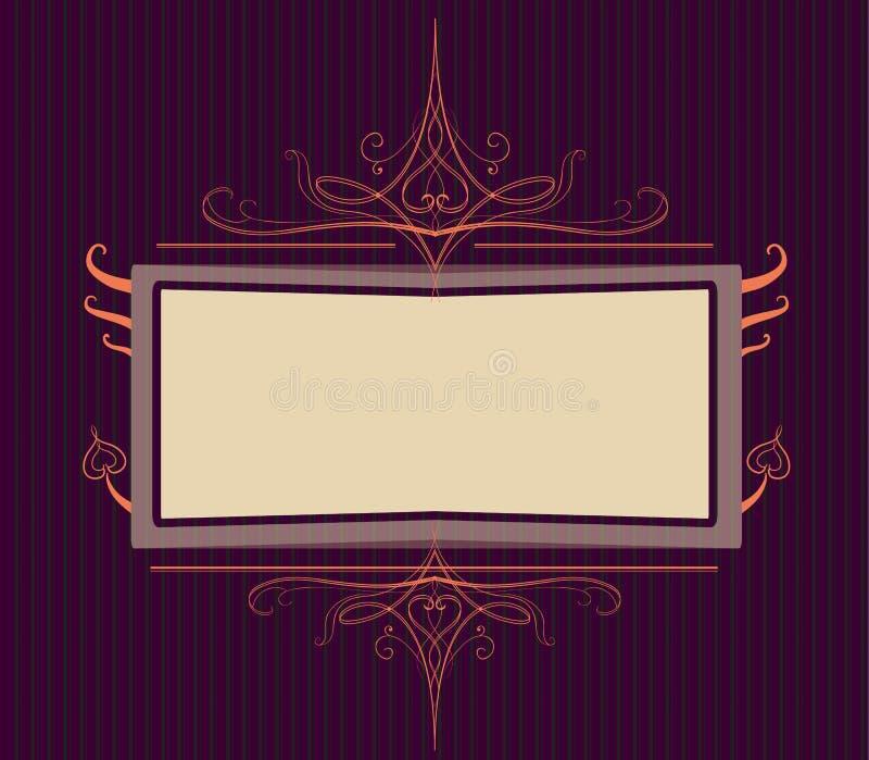Royal purple Ornate turn of the century frame stock illustration