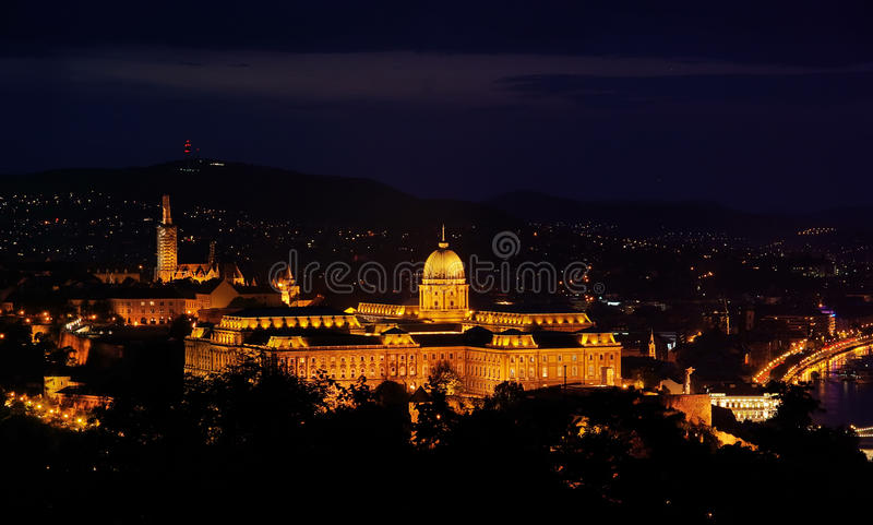 Royal Residence - night view. Royal Residence in Budapest, night view stock photography