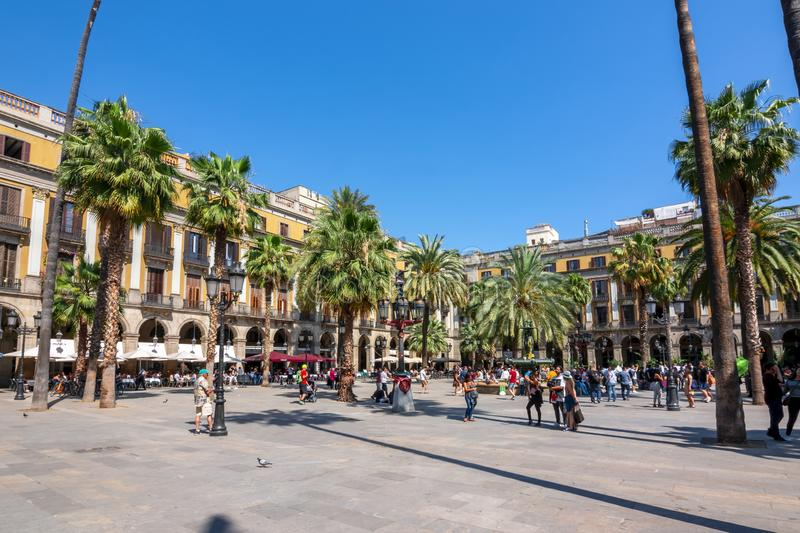 Royal square Plaza Real in Barcelona, Spain stock photography