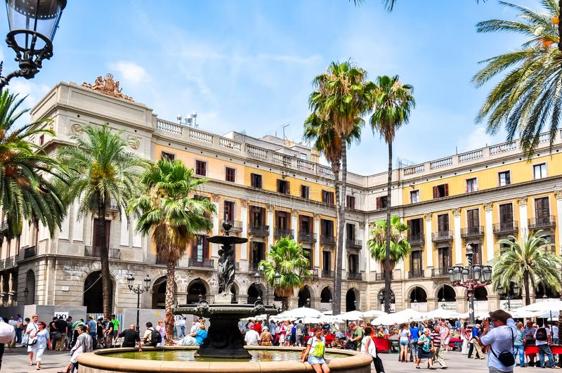 Royal square Plaza Real in Barcelona, Spain royalty free stock photos