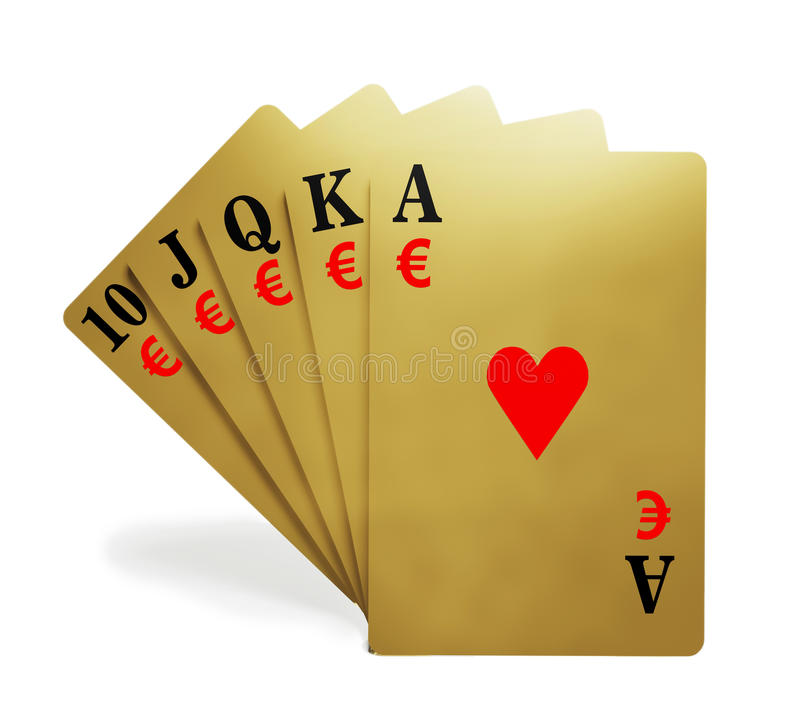 A Royal Straight Flush With Money Symbol Stock Image