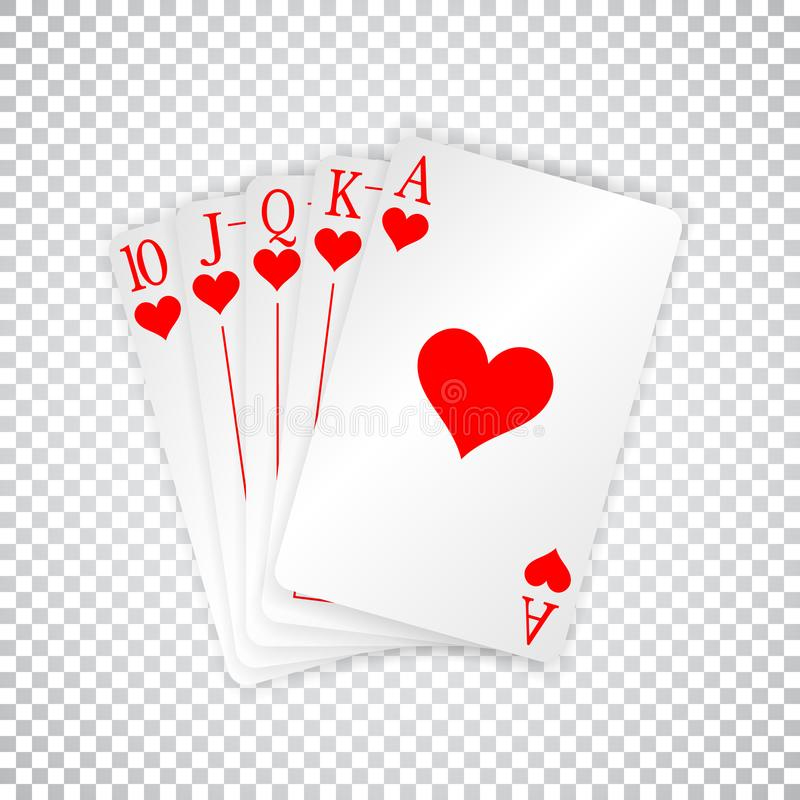 A royal straight flush playing cards poker hand in hearts royalty free illustration