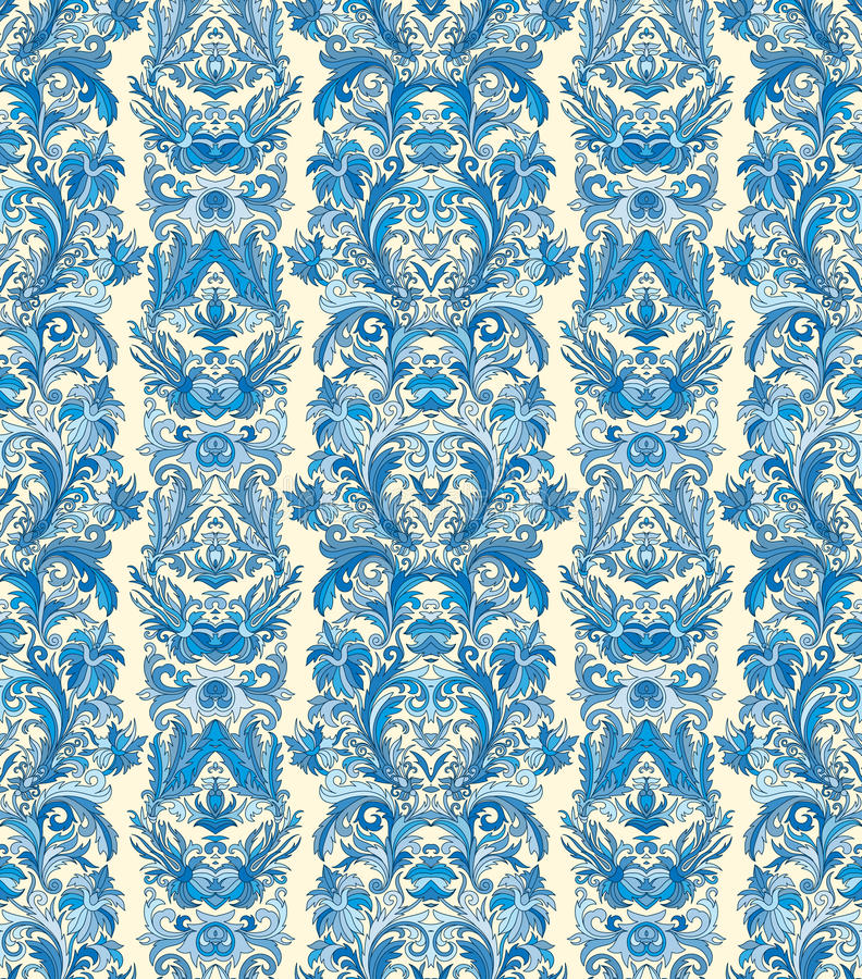 Royal striped seamless pattern. Rococo floral wallpaper. Damask background royalty free illustration