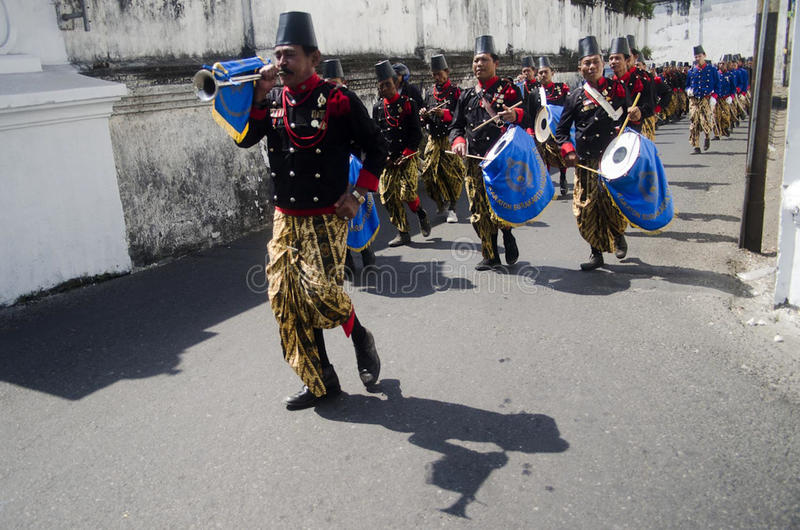 ROYAL SURAKARTA MUSIC CORPSE. The music corpse of Royal Surakarta Palace is seen rehearsing at the street of Solo, Java, Indonesia. Once part of Surakarta Royal royalty free stock images