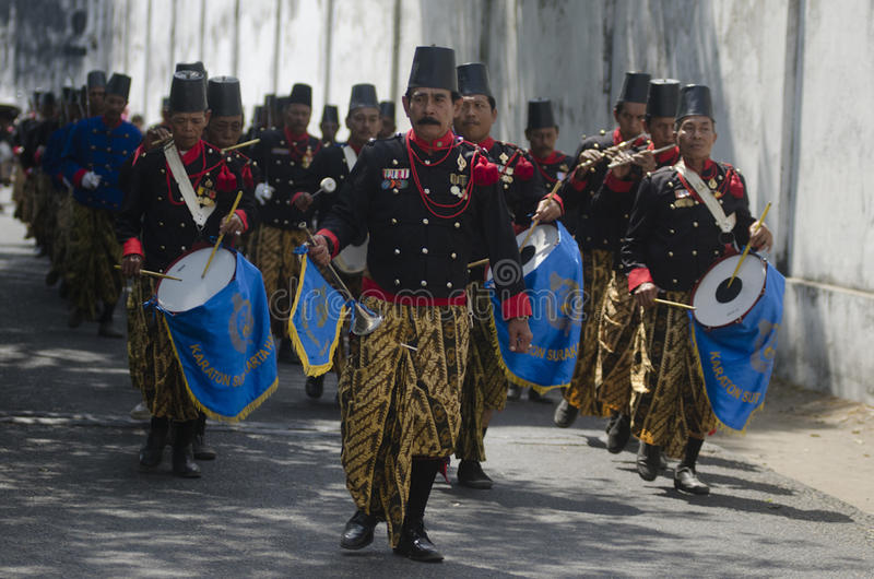 ROYAL SURAKARTA MUSIC CORPSE. The music corpse of Royal Surakarta Palace is seen rehearsing at the street of Solo, Java, Indonesia. Once part of Surakarta Royal stock photography