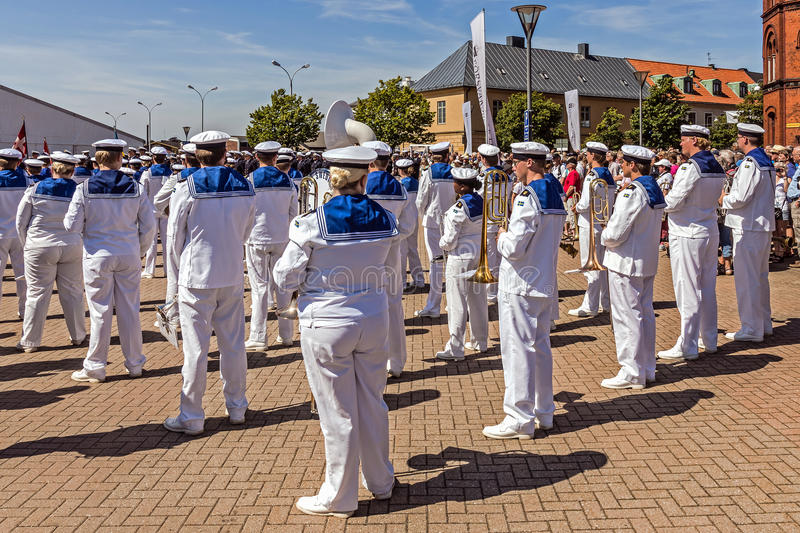 Royal Swedish Navy Cadet Band. Performs during Nordic Cadet Meeting (NOCA), annual event arranged by naval warfare academies of Sweden, Norway, Denmark and stock photos