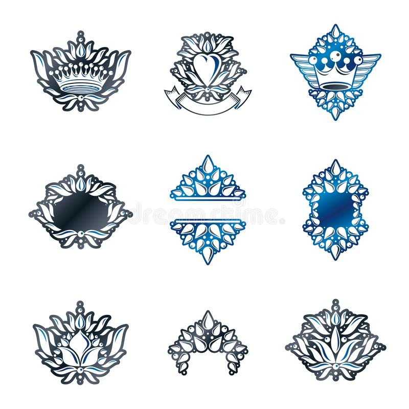 Royal symbols, Flowers, floral and crowns, emblems set. Heraldic vector design elements collection. Retro style label, heraldry vector illustration