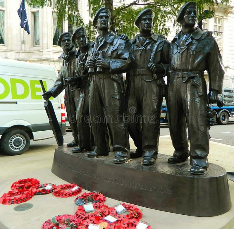 Royal Tank Regiment Memorial in whitehall London. Sculpture of the royal tank regiment WW 2 which is situated in Whitehall London England stock photography