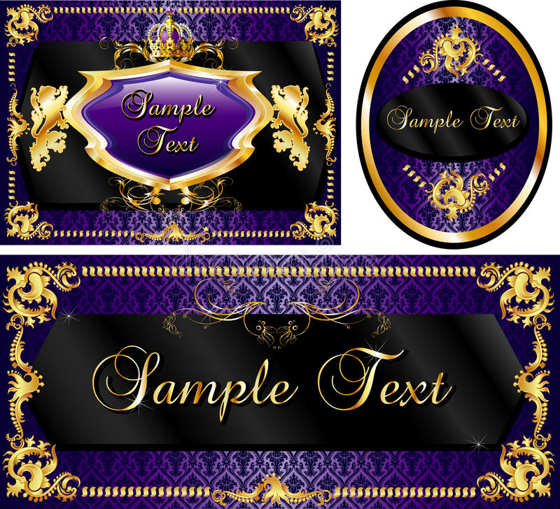 Royal Template Set Purple vector illustration