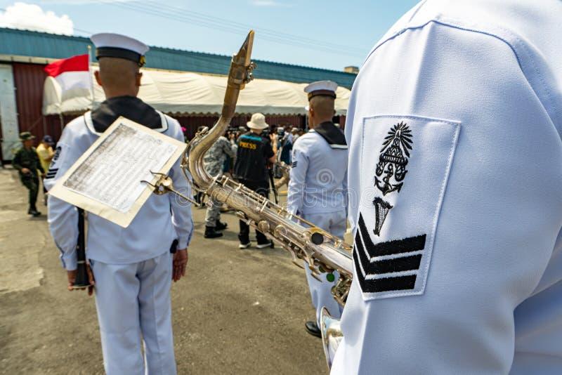 Royal Thai Navy marching band prepare to play music during 20th Sea Garuda 2019 opening ceremony at Chuk Samet port in Sattahip. CHONBURI, THAILAND - AUGUST 15 stock photography