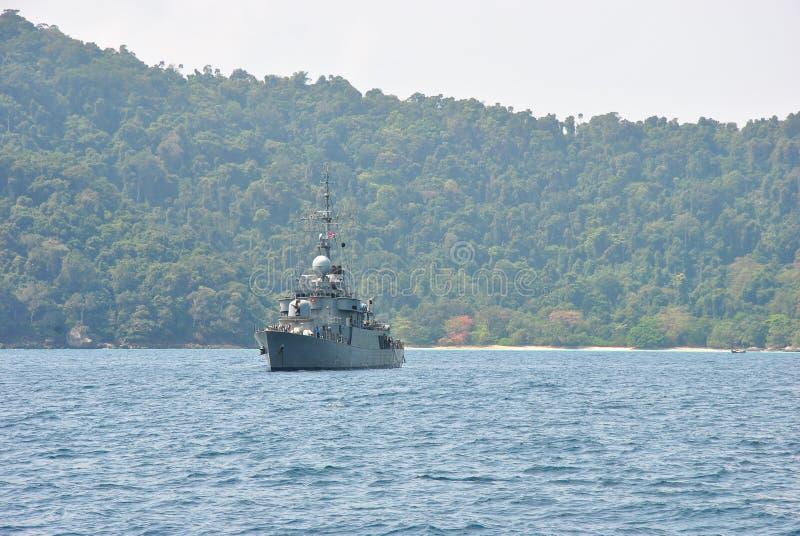 Royal Thai navy ship at Surin island national park. Thailand royalty free stock images