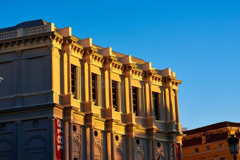 Royal Theater Plaza de Oriente Square Madrid, Spanien royaltyfria bilder