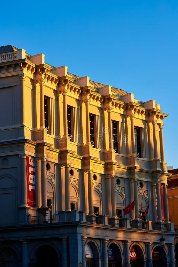 Royal Theater Plaza de Oriente Square Madrid, Spanien fotografering för bildbyråer