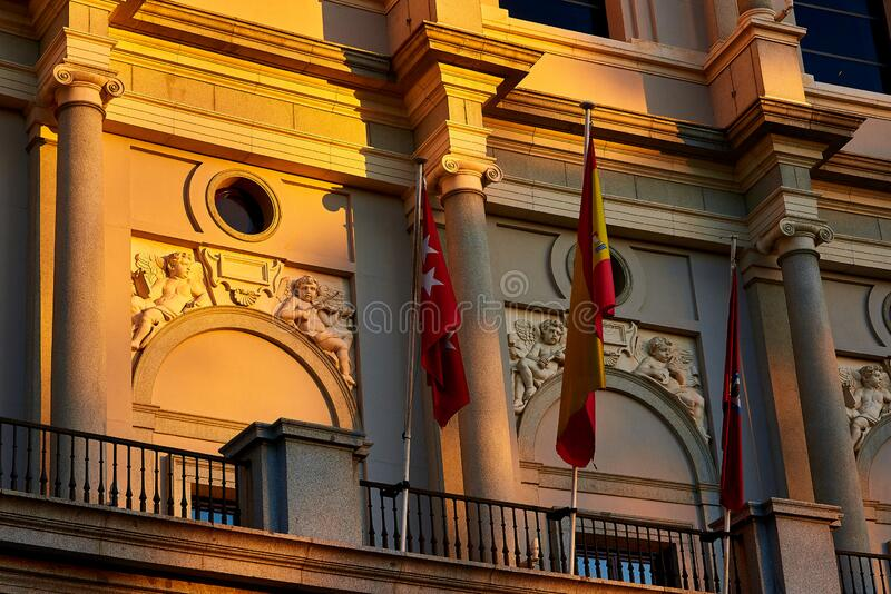 Royal Theater Plaza de Oriente Square Madrid, Spanien arkivbilder