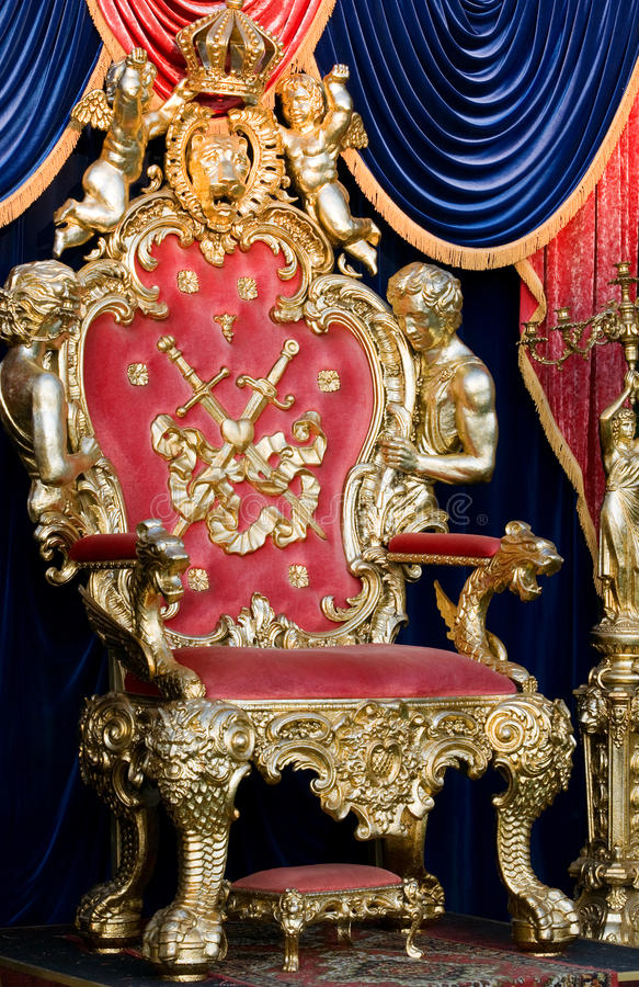 Royal throne. In a room stock photo