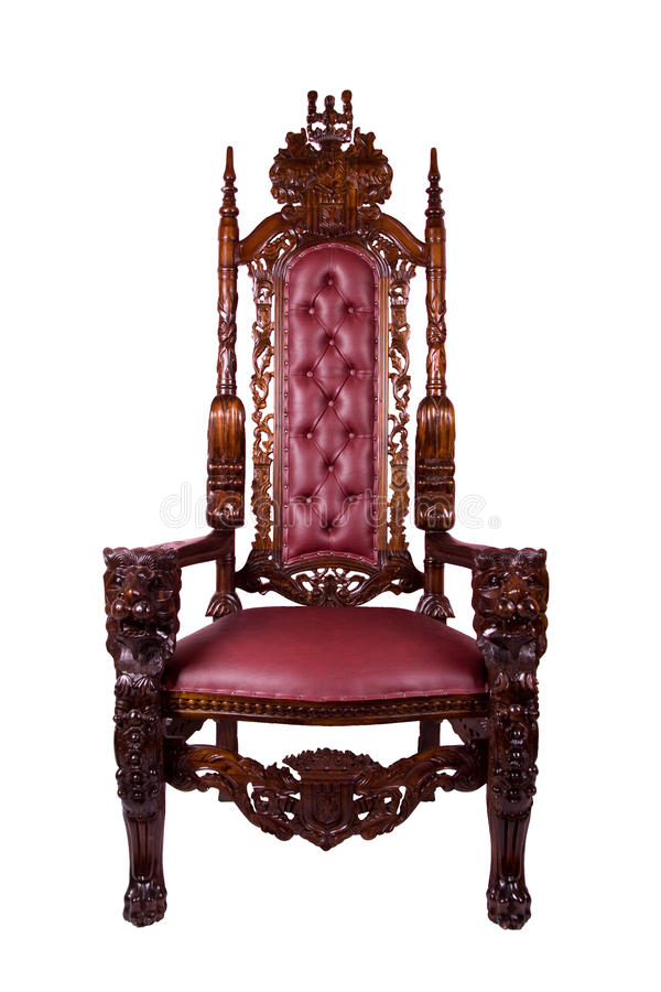 Royal throne. Wood Armchair isolated on the white with clipping path