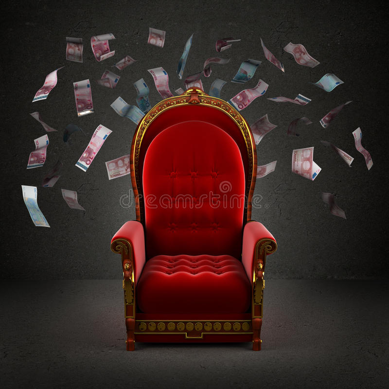 The royal throne in the room. With falling euro banknotes royalty free stock images