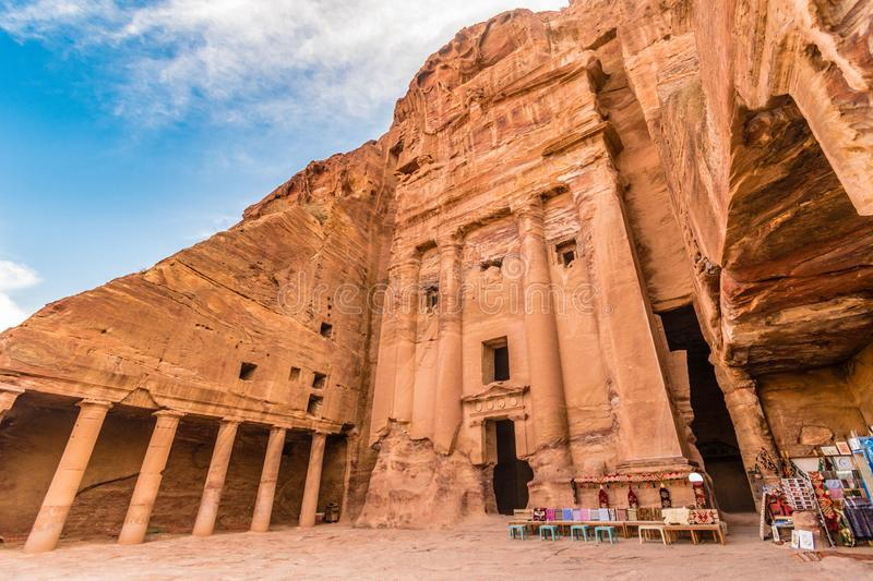 Royal tombs entrance detail, Petra site, Unesco, Jordan, Middle Eas royalty free stock photography