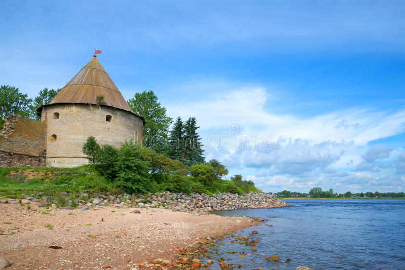 Royal Tower on the banks of the Neva river. Oreshek fortress. Leningrad region, Shlisselburg, Russia. Royal Tower on the banks of the Neva river sunny august day royalty free stock photography