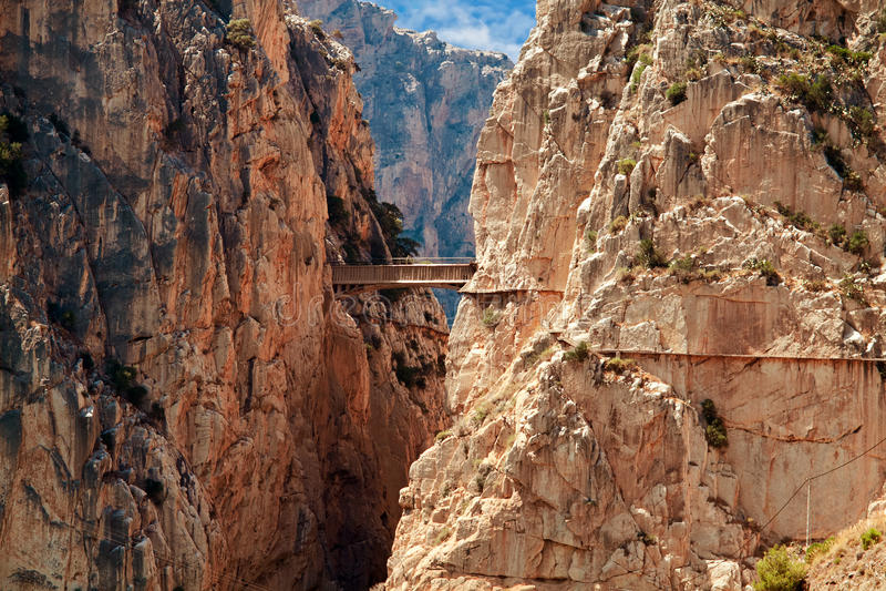Royal Trail (El Caminito del Rey) in gorge Chorro, Malaga province, Spain. Royal Trail (El Caminito del Rey) in gorge Chorro, Malaga province royalty free stock image