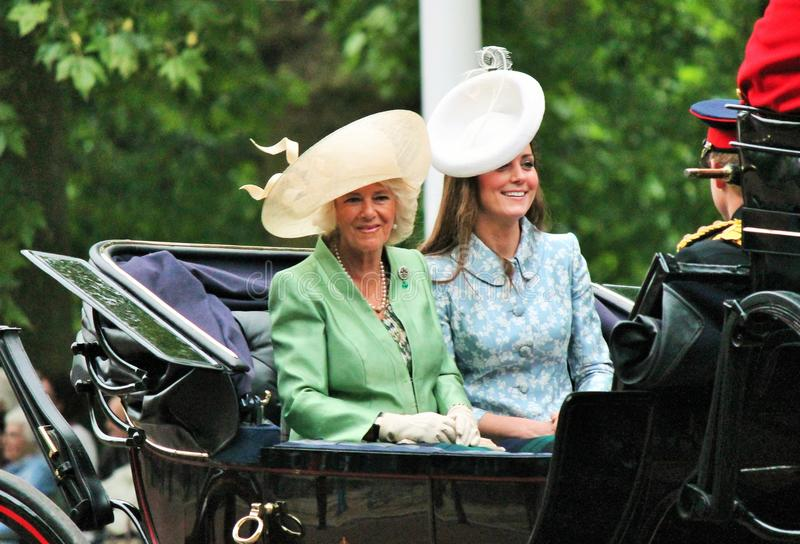 Kate Middleton and Camilla Parker Bowels, Royal Trooping of the color 2015 stock images