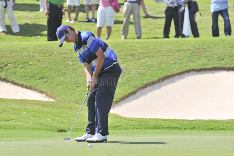 The Royal Trophy. HUA HIN, THAILAND - JANUARY 8 : matteo Manassero action in The Royal Trophy Tournament at, Black, Mountain Golf Club, Hua Hin, Thailand on royalty free stock images