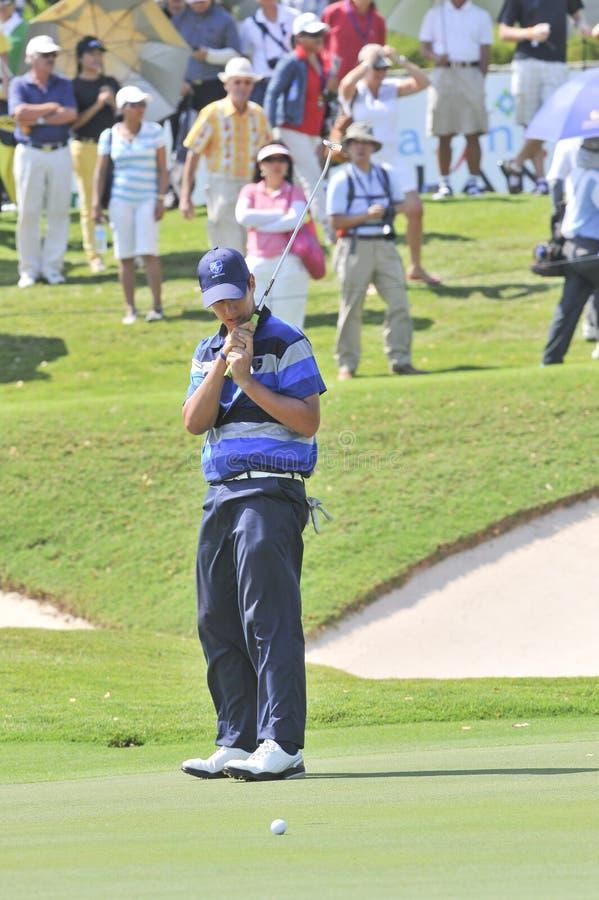 The Royal Trophy. HUA HIN, THAILAND - JANUARY 8 : matteo Manassero action in The Royal Trophy Tournament at, Black, Mountain Golf Club, Hua Hin, Thailand on stock photo