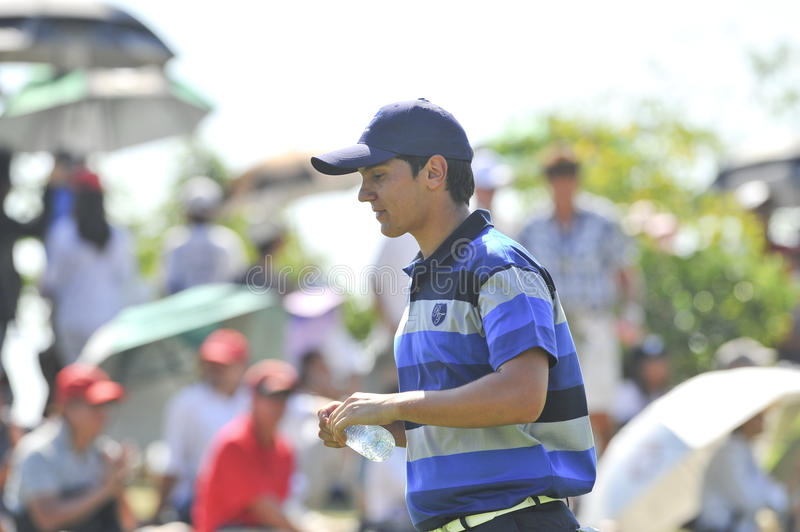 The Royal Trophy. HUA HIN, THAILAND - JANUARY 8 : matteo Manassero action in The Royal Trophy Tournament at, Black, Mountain Golf Club, Hua Hin, Thailand on stock photography