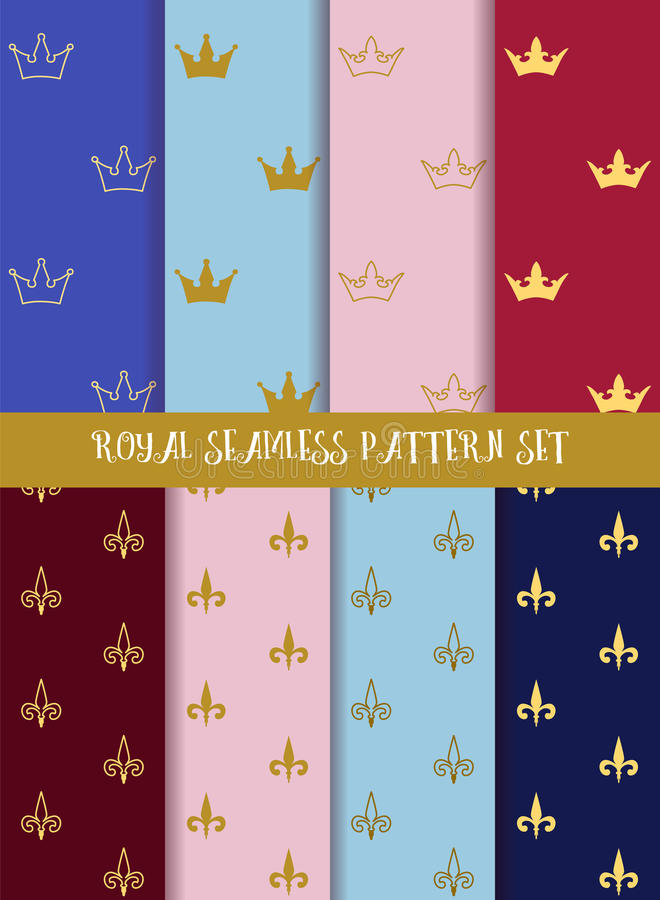 Royal vector seamless pattern set. Crowns and lily stock illustration