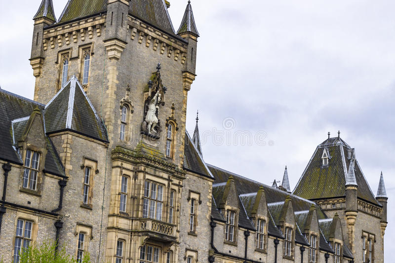 The Royal Victoria Patriotic Building. View of the Royal Victoria Patriotic Building, a large victorian building in gothic style combining Scottish Baronial and royalty free stock photos