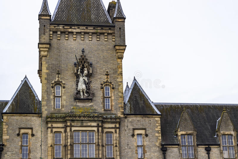 The Royal Victoria Patriotic Building. View of the Royal Victoria Patriotic Building, a large victorian building in gothic style combining Scottish Baronial and stock image