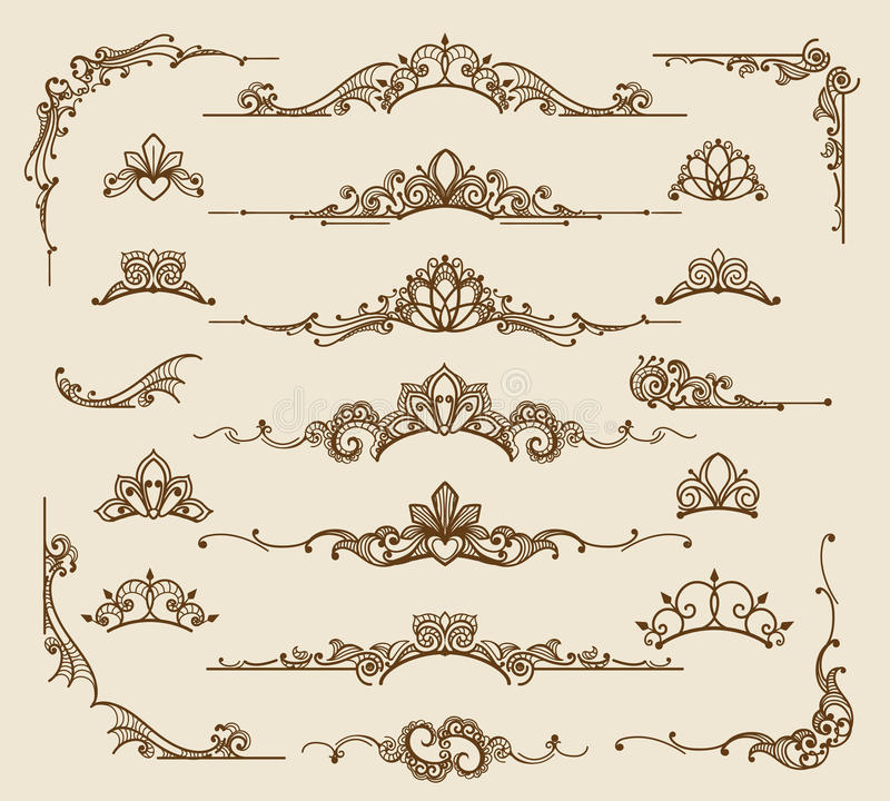 Royal victorian filigree design elements stock illustration
