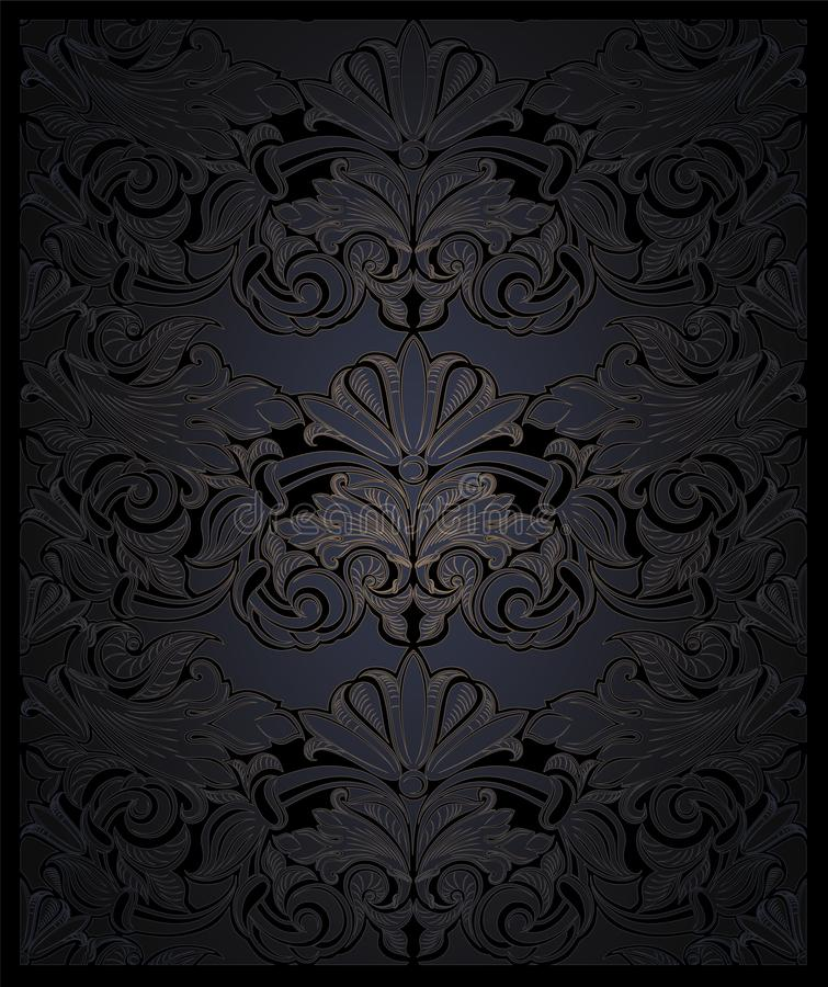 Royal, vintage, elegant vertical background in black with gold. With classic Baroque pattern, Rococo with darkened edges vector illustration