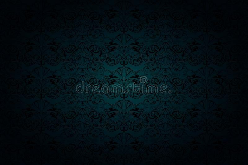Royal, vintage, Gothic background in gloomy malachite green and black tones. With classic Baroque and Rococo ornaments royalty free illustration