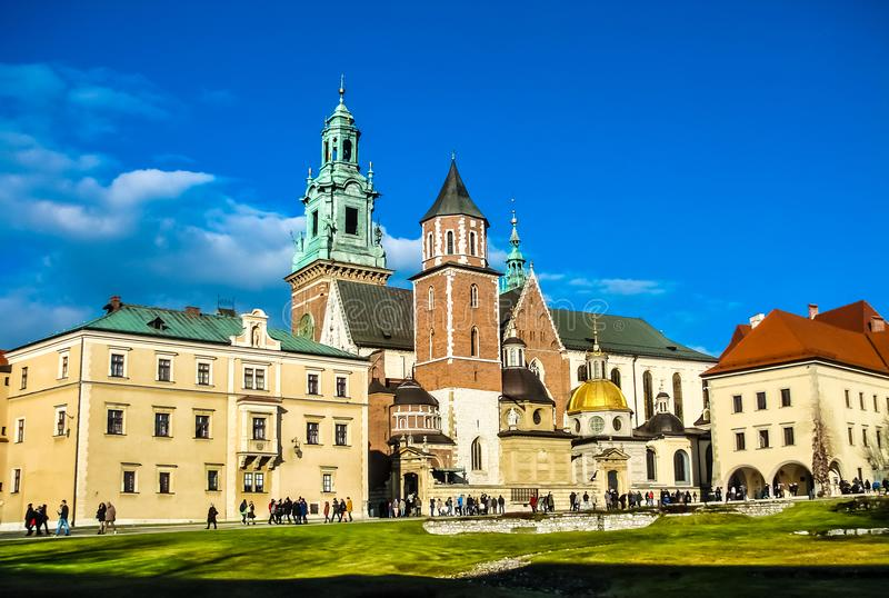 Royal Wawel Cathedral, Krakow, Poland. In front of contrast bright blue sky. stock photos