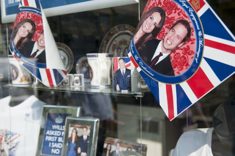 Royal Wedding 2011 Memorabilia. LONDON - APRIL 24: Souvenir shops selling memorabilia for Prince William and Catherine Middleton's royal wedding celebration to royalty free stock images