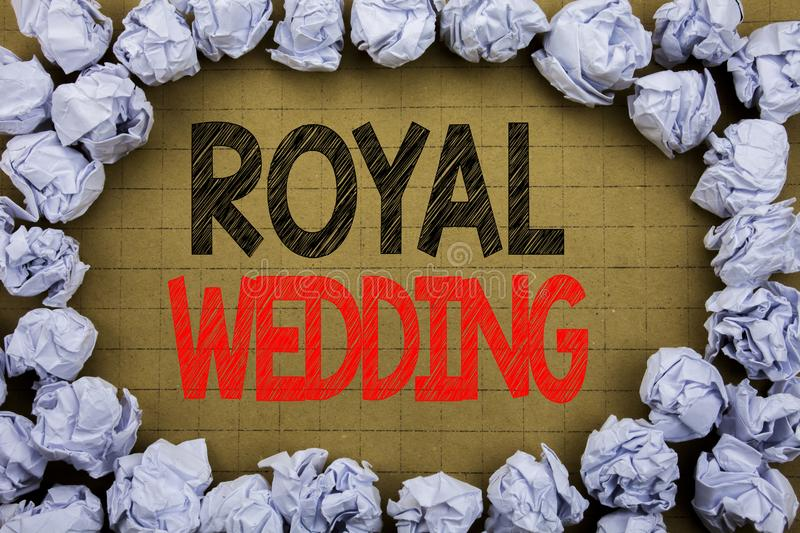 Royal Wedding. Business concept for British England Wedding written on vintage background with copy space on old background with f stock photography