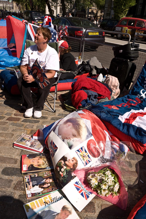 Royal Wedding campers, Westminster Abbey.
