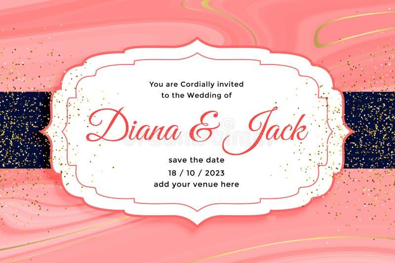 Royal wedding card invitation with golden glitter effect vector illustration