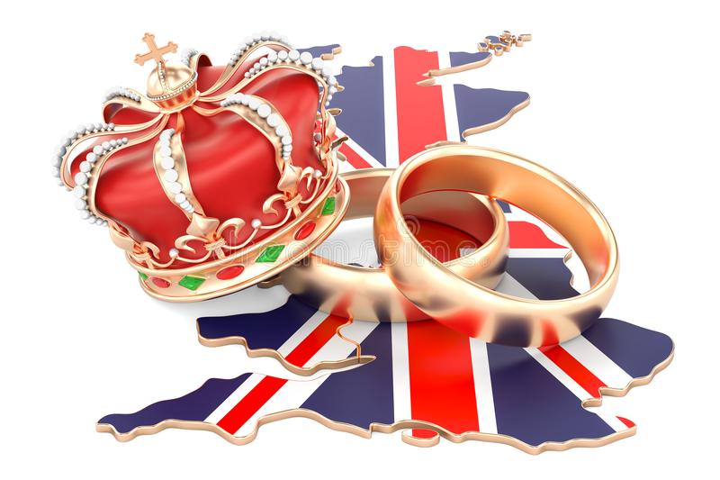 Royal wedding concept. Wedding rings with royal crown on the British map, 3D rendering. Royal wedding concept. Wedding rings with royal crown on the British map royalty free illustration