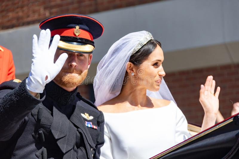 Prince Harry and Meghan Markle wedding. The royal wedding of Prince Harry and Meghan Markle in Windsor UK 19th May 2018 royalty free stock images