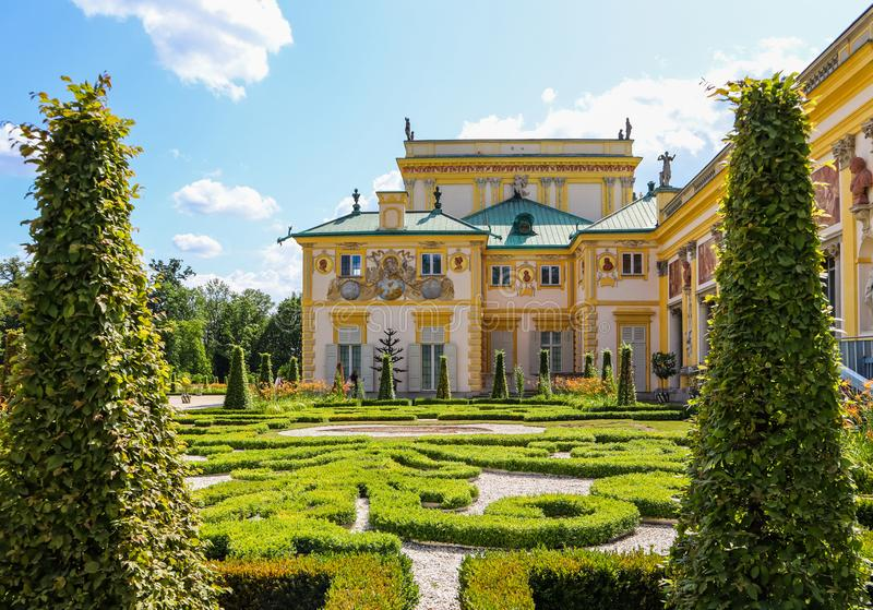 Royal Wilanow Palace in Warsaw. Residence of King John III Sobieski. Poland. August 2019.  royalty free stock images