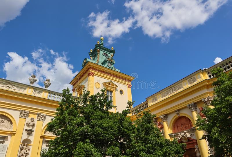 Royal Wilanow Palace in Warsaw. Residence of King John III Sobieski. Poland. August 2019.  stock photos